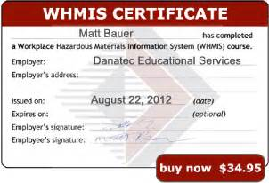 Whmis Certificate Template by Whmis 2015 Certification Self Study