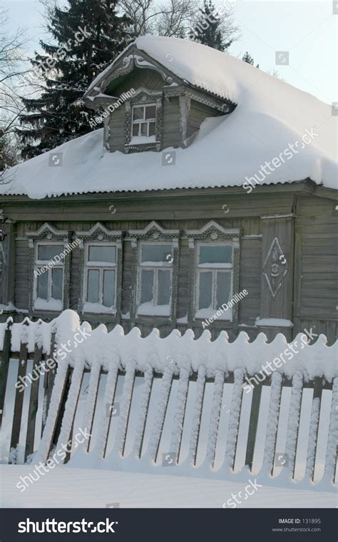 wooden russian house in winter covered with snow stock snow covered russian house stock photo 131895 shutterstock