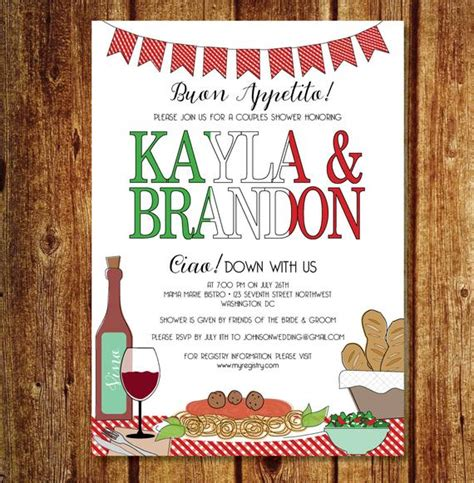 italian themed bridal shower invitations italian couples shower invitation italian rehearsal dinner