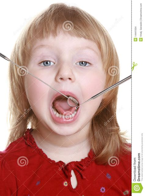 little girl mouth open little girl with an open mouth stock images image 14441504