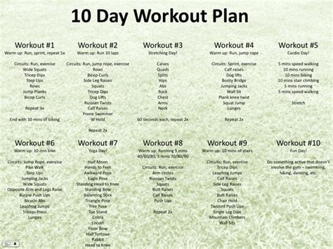 10 day workout plan loser