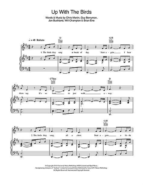 coldplay birds lyrics coldplay up with the birds sheet music