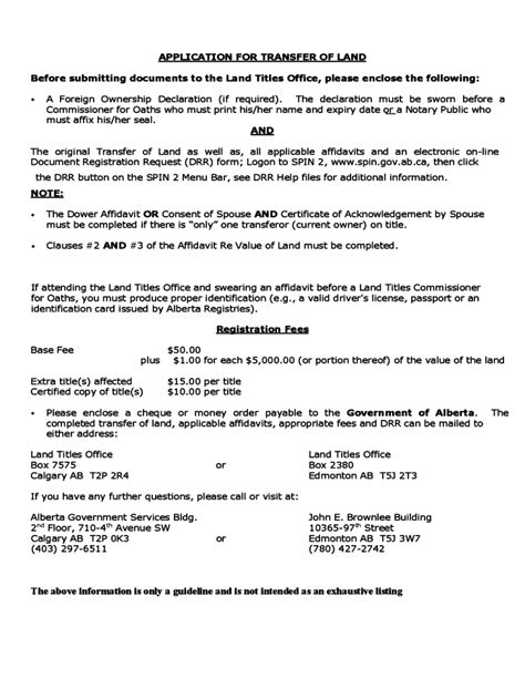 application for transfer of land alberta free
