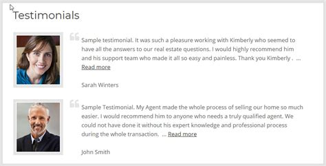 testimonials add on for real estate idxcentral