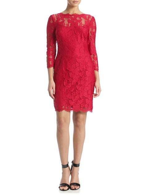 Sleeve Lace Cocktail Dress papell 3 4 sleeve lace cocktail dress in lyst