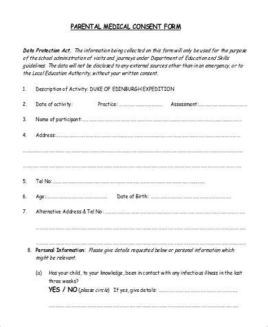 parental consent form template uk sle parental consent form 9 exles in pdf