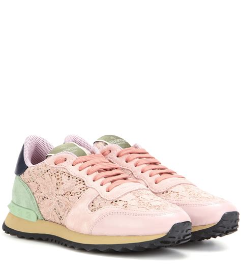 s valentino sneakers valentino lace sneakers in pink lyst