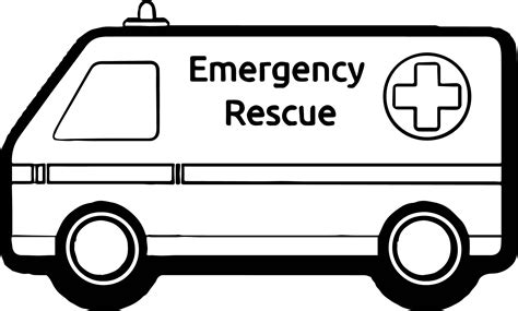 ambulance emergency rescue car coloring page wecoloringpage