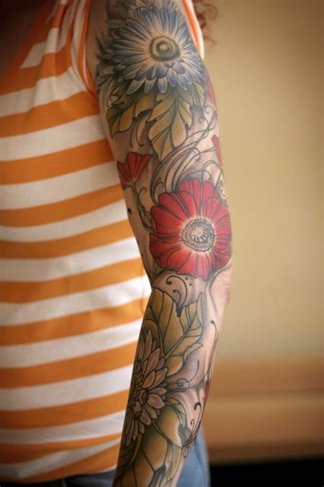 flower tattoo sleeves designs flower sleeve tattoos designs ideas and meaning tattoos