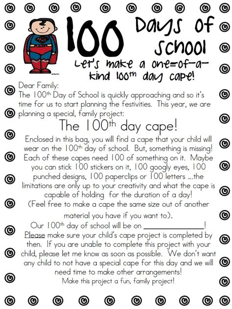 Parent Letter Exles Day Of School 100 day cape parent letter 100th day of school