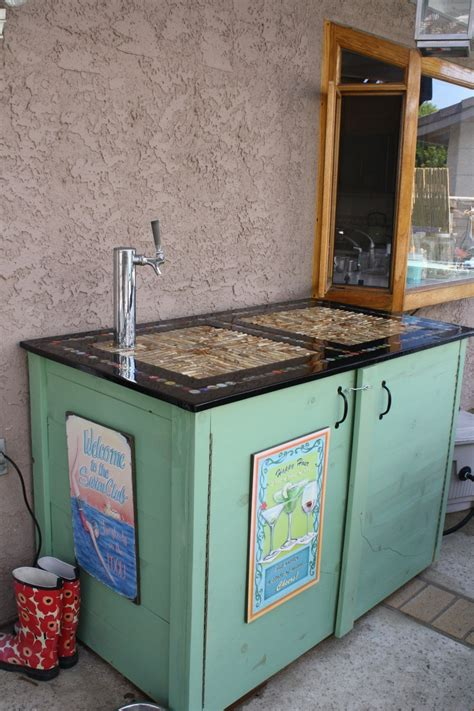 homemade bar tops diy bar top on kegerator cabinet diy bar pinterest