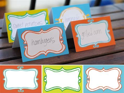 food place cards template free printable food label cards printables food