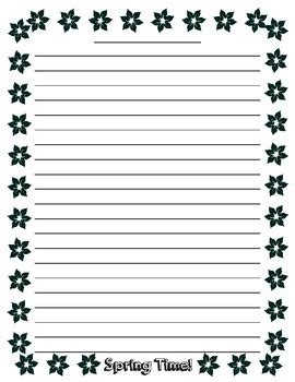 lined paper with plant border spring writing lined paper by teacher vault teachers pay