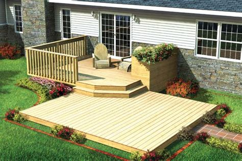split level deck plans project plan 90009 split level patio deck w planter