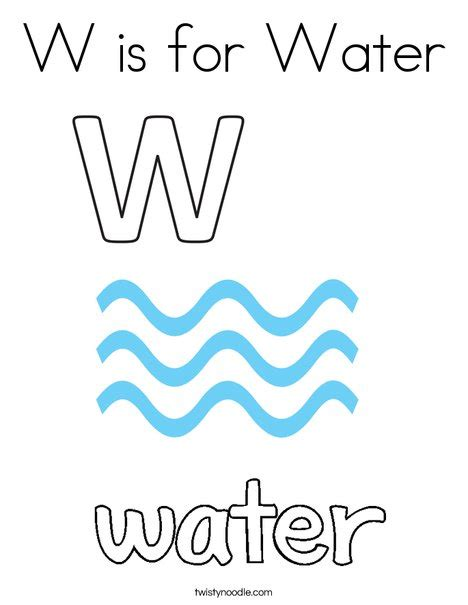 W Is For Water Coloring Page by W Is For Water Coloring Page Twisty Noodle