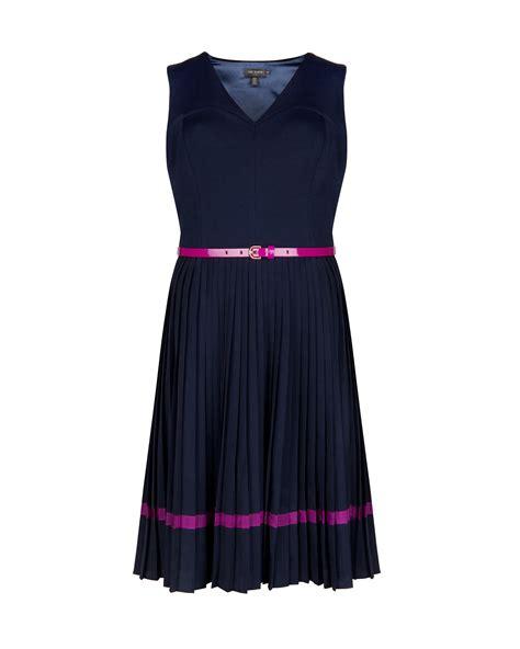 ted baker pleated skirt dress in blue navy lyst