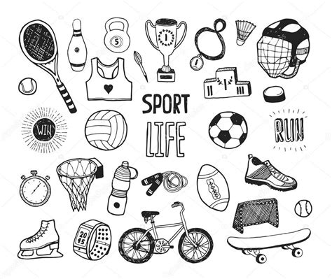 doodle sport doodle sport collection stock vector