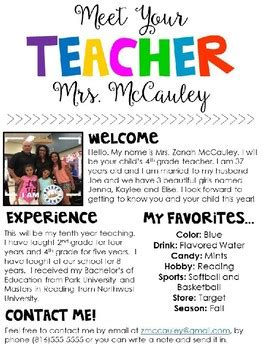 meet  teacher editable template  zanah mccauley tpt