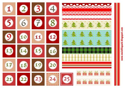 free printable christmas advent calendar numbers and