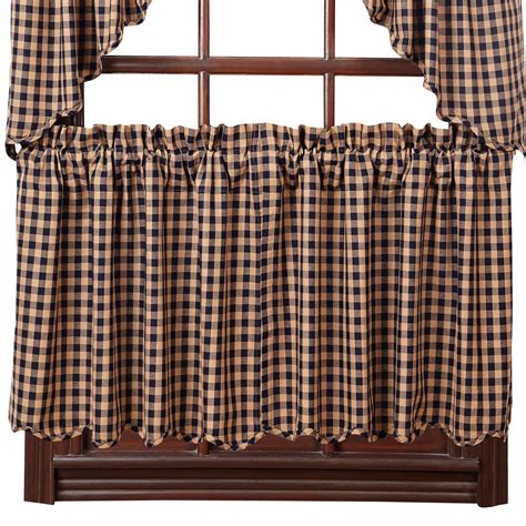 Burgundy Check Curtains Check Scalloped Lined Curtain Tiers Burgundy Navy 24 Quot Or 36 Quot Lengths Ebay
