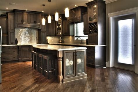grey brown stained kitchen cabinets what kind of wood is used and what color is the stain