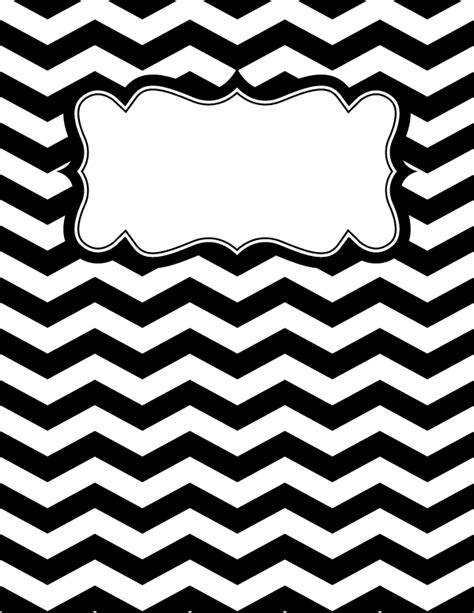 design cover for binder free printable black and white chevron binder cover