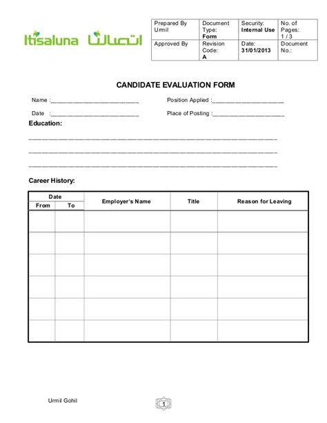 candidate evaluation template candidate evaluation form for hr