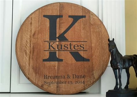 bourbon barrel head ? Monogram and Last name personalized
