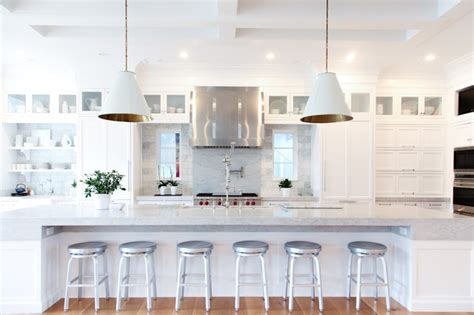 Hanging Lights Over Kitchen Island light amp bright symmetrical kitchen design transitional