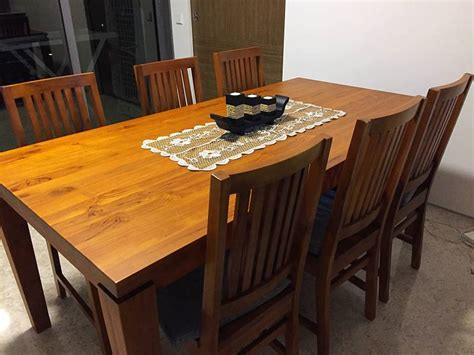 Dining Table And Bench Set Singapore Reduced Price Solid Teak Dining Table 6 Chairs Set