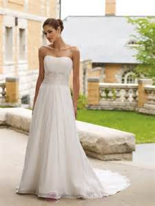 simple a line strapless wedding dress from chiffon sang