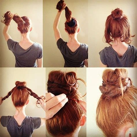 put your hair in a bun with braids the braided donut braid for your redhair in 5 easy steps