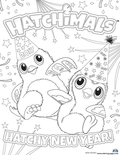new year colouring posters print hatchimals happy newyear 2017 hatchy coloring pages