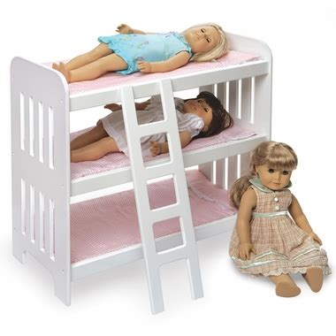 Badger Basket Doll Bunk Beds With Ladder Badger Basket Doll Bunk Bed With Ladder And Pink Gingham Mats In White Free Shipping