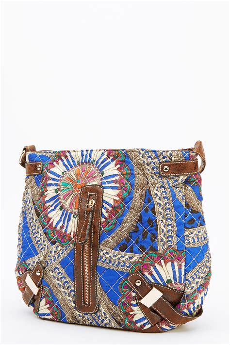 blue quilted mixed print crossbody bag handbags quilt bags