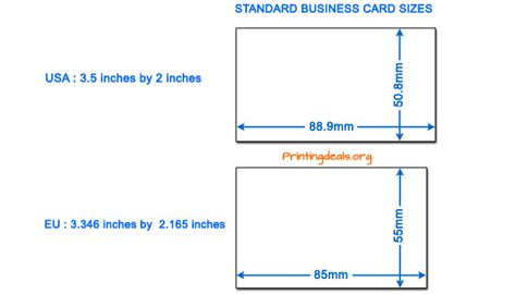 standard credit card size template business card sizes