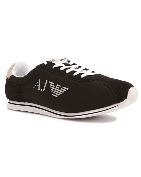 armani shoes armani vintage black canvas sneakers in black for