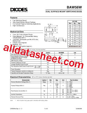 diodes inc bav99 baw56w 7 데이터시트 pdf diodes incorporated