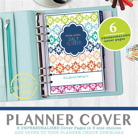daily planner cover printable 2016 daily planner cover page all 6 designs by