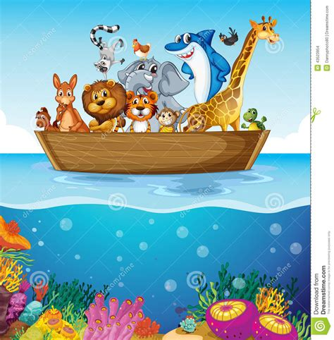 animal cartoon on boat a boat at the sea with animals stock vector illustration