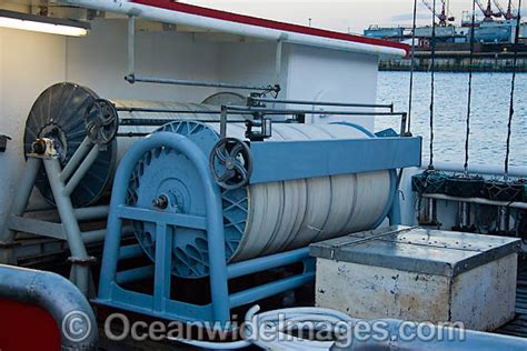 small boat longline system long line boat stock photo