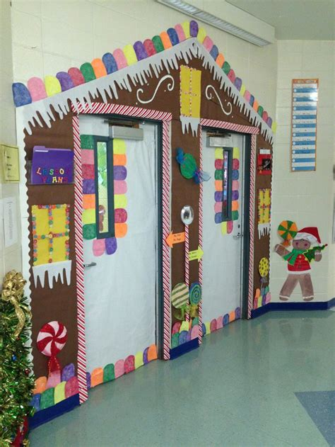 decorating an elementary school for christmas gingerbread house door decoration classroom door decorations house doors