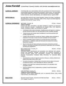 Clerical Resume Exles by Exle Clerical Resume Free Sle