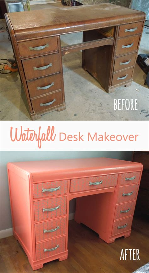 delight dwell diy waterfall desk makeover