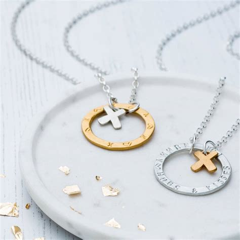 personalised hugs and kisses necklace by chambers beau