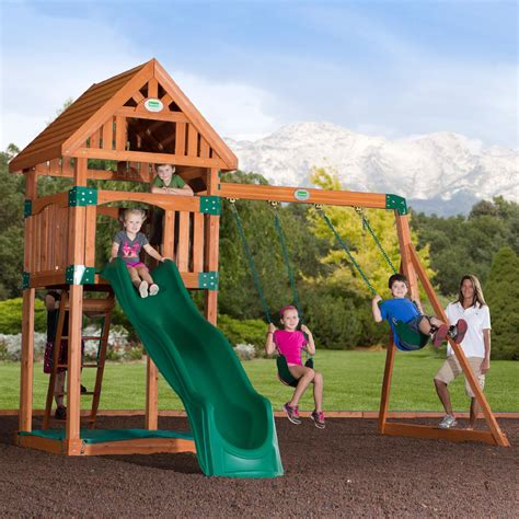 out door swing set trek cedar swingset