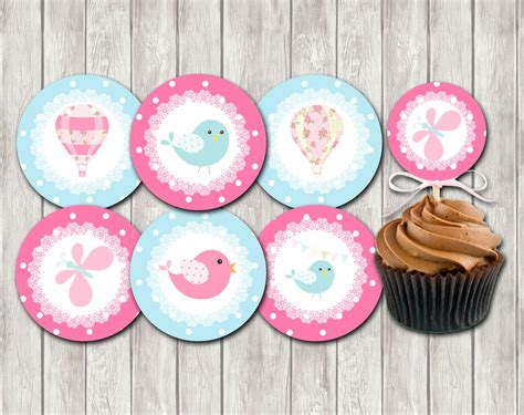 diy baby shower cupcake toppers air balloon baby shower cupcake toppers printable