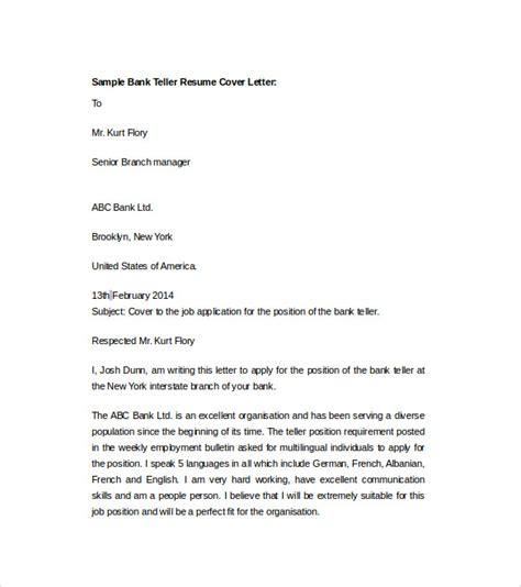 Cover Letter For Bank Teller by Sle Resume Cover Letter Template 7 Free Documents In Pdf Word