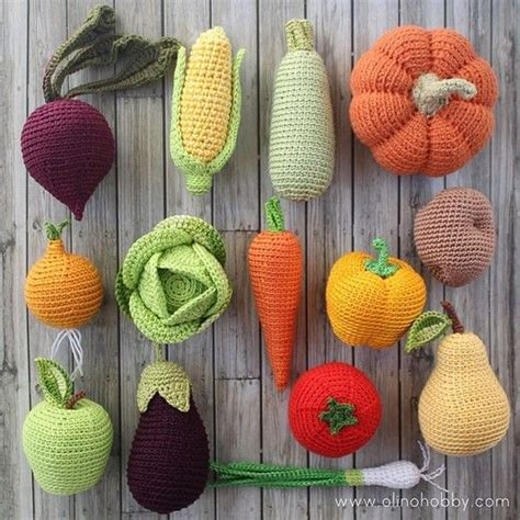 knitting pattern vegetables olinohobby вязаные овощи и фрукты вязаная еда на заказ