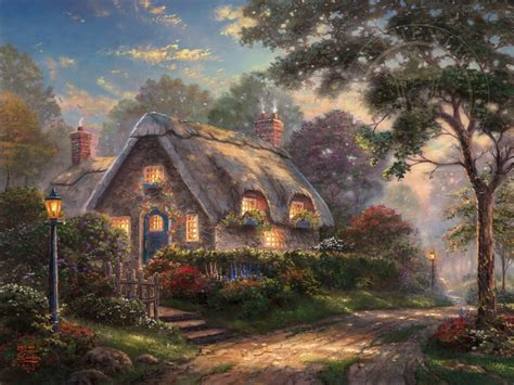 cottage paintings by kinkade lovelight cottage the kinkade company